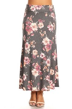 d4c664e09a PB COUTURE Womens Plus Size Long Maxi Skirt Flared Wide Waistband Black  Floral PRINT3X >>> ** AMAZON BEST BUY ** #SummerOutfit
