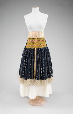 Slovak Apron  Date: fourth quarter 19th century Culture: Slovak Medium: cotton, silk, wool Dimensions: Length at CB: 30 1/4 in. (76.8 cm) Credit Line: Brooklyn Museum Costume Collection at The Metropolitan Museum of Art, Gift of the Brooklyn Museum, 2009; Museum Expedition 1920 & 1921, Robert B. Woodward Memorial Fund, 1921 Accession Number: 2009.300.2965