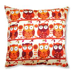 Handmade Cushion - Retro Orange Owls (£25.00) Gorgeous, fun and quirky gifts for you and your home Hunkydory Home