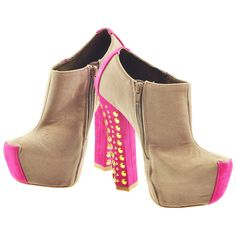 Grey and Pink Two Tone Studded Booties   Sexyback Boutique
