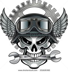 Find Biker Skull Emblem stock images in HD and millions of other royalty-free stock photos, illustrations and vectors in the Shutterstock collection. Thousands of new, high-quality pictures added every day. Motorcycle Art, Bike Art, Moto Logo, Biker Tattoos, Skull And Bones, Skull Art, Tatoos, Sketches, Cool Stuff