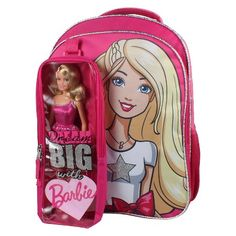"Mattel 16"" Barbie® Kids Backpack with Bonus Barbie Doll and Detachable Carrying Case - Pink : Target"