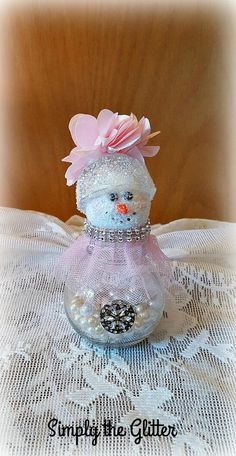 "Glass Jar Snowman, Glass Snowman Assemblage, Glitter Snowman Decoration, ""Bonnie"" Snow Lady, Christmas Collectible, Original by SimplyTheGlitter on Etsy"