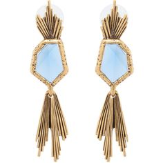 Oscar de la Renta Wild Flower Tanzanite Earrings ($175) ❤ liked on Polyvore