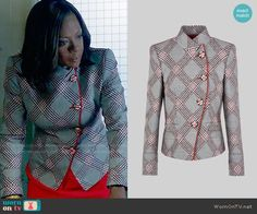 Annalise's grey plaid jacket with red trim on How to Get Away with Murder.  Outfit Details: https://wornontv.net/80234/ #HTGAWM