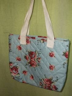 Hand Sewn Light Blue Pink Rose Floral Fabric Small Tote Bag Purse Lunch Bag Gift Bag Upcycled Adult Child Toddler by TheRoyaleRagbag on Etsy