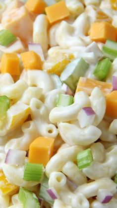 Creamy Cheddar Macaroni Salad ~ It's loaded with peppers, celery, onions, chunks of cheddar cheese and elbow noodles, all covered in a tangy sour cream dressing... Simple, quick and so delicious!