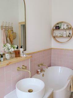 Pink Bathroom Tiles, Pastel Bathroom, Pink Tiles, Retro Bathrooms, Complete Bathrooms, Bathroom Renos, Bathroom Renovations, Bathroom Ideas, Small Bathroom