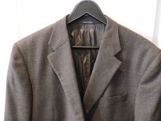 Marzotto Lab 100% Wool Brown Houndstooth All Season Blazer 44R Made in Italy (Pre-Owned)