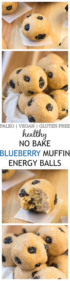 No Bake Blueberry Muffin Energy Balls- These no bake energy balls taste like a blueberry muffin minus the oven added fats and sugars! Just five minutes is all youll need to whip up these easy healthy delicious snacks- Vegan gluten free refined sugar Yummy Healthy Snacks, Healthy Baking, Yummy Food, Eating Healthy, Healthy Food, Clean Eating, Paleo Recipes, Snack Recipes, Cooking Recipes