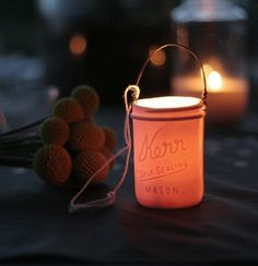 I would love these in my trees!!!  Mason Jar Votive Lantern by PigeonToeCeramics on Etsy, $36.00