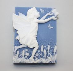 Butterfly Fairy Soap - faerie, magic, magick, silhouette, wedgewood, fantasy, imaginary creatures, little girl, party favor, fairy day by WizardAtWork on Etsy