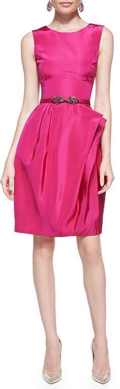 Oscar de la Renta Full-Skirt Silk Dress, Magenta