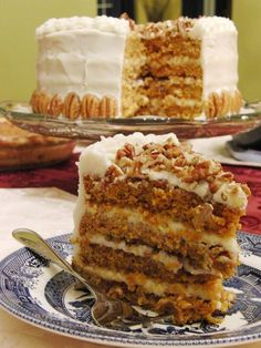~ 4-layer Pumpkin Cake with Brown Sugar Cream Cheese Frosting and Pecans ~