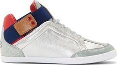 Y-3 - Silver Leather Kazuhiri High-Top Sneakers