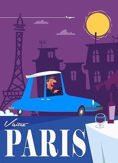 'Visitez Paris poster' Poster by Gary Godel Paris Poster, Up Book, Retro Art, Vintage Travel Posters, Persona, Illustrations, Graphic Design Illustration, Vintage Advertisements, Vintage Images