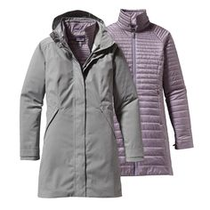 The Patagonia Women's Vosque 3-in-1 Parka is a versatile, waterproof long coat insulated with warm Thermogreen® recycled polyester. Check it out.