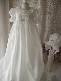 beautiful smocked heirloom christening gown