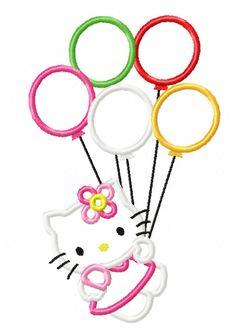Cute Kitty Birthday Balloons Applique by CrossnosDesigns on Etsy