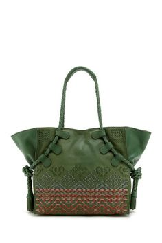 Tahoe Leather Weave Tote