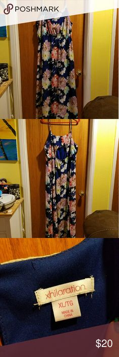Blue and Floral Maxi Dress Great condition like new. Xhilaration Dresses Maxi