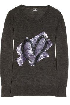 Markus Lupfer | Heart sequin-embellished merino wool sweater | NET-A-PORTER.COM