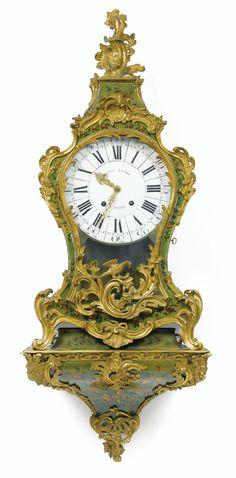 A GILTBRONZE MOUNTED VERNIS MARTIN CARTEL CLOCK, LOUIS XV, THE DIAL SIGNED SAINT ANDRE / A PARIS