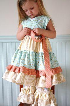 Wilmington wrap dress ruffle pants set......Momi boutique