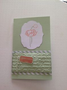 Birthday card.  Stampin up framelits label collection, stamp got ticket and 'Douce Esquise', embossing folder