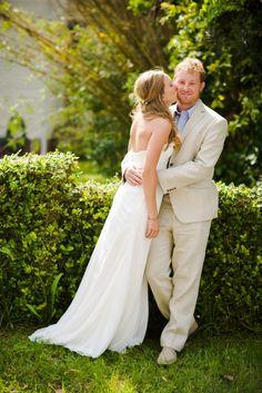 Spring wedding photo, Khaki linen suit for groom