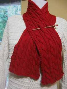 red cabled scarf