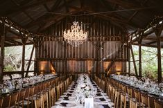 barn reception with a chandelier