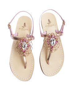 Sandalo gioiello - pelle laminata oro rosa - Sandali Capresi fatti a mano