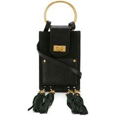 Chloé Mini Jane Cross Body Bag ($811) ❤ liked on Polyvore featuring bags, handbags, shoulder bags, black, kiss-lock handbags, mini cross body handbags, tassel purse, chloe purses and cross body strap purse