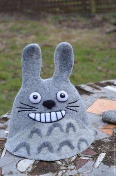 Totoro Hat, Felt Hat, Wet Felting, Felt Animals, Felt Crafts, Plush, Slippers, Kids Rugs, Quilts