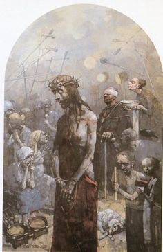 I Estación. Cristo es condenado a muerte. Gólgota de Jasna Góra, del pintor polaco Jerzy Duda Gracz. I Estación. Cristo es condenado a muerte