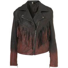 Ombre Fringe Biker Jacket ($370) ❤ liked on Polyvore