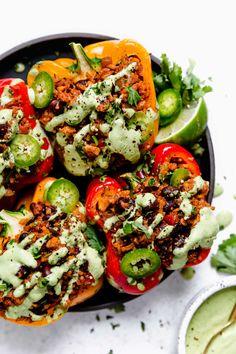 Vegetarian Stuffed Peppers, Stuffed Peppers Healthy, Shawarma Seasoning, Sweet Potato Tacos, Wild Rice Soup, Roasted Peppers, Roasted Sweet Potatoes, Vegetarian Recipes, Vegan Meals
