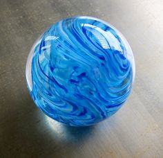 Sky Blue Glass Paperweight by nautical2004 on Etsy