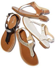 f1eef182536b Michael Michael Kors Mk Plate Flat Thong Sandals - Brown 5M