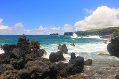 Nahiku Cove is one of those off-the-beaten-path places to sit by yourself and be amazed by the beauty of Maui. Rugged lava coastline, blue sky and the Pacific Ocean. Wow! Take the Nahiku turnoff from the Hana Highway just past Makapipi Falls.