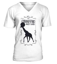 9fa75f6d3 Giraffro Party Hard Illustration V Neck Men Tees . Click to buy:Unisex Tees