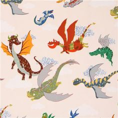 cream Alexander Henry fairy tale dragon fabric The Dragons 1
