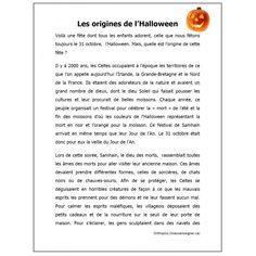 Comp. de lecture, Les origines de l'Halloween