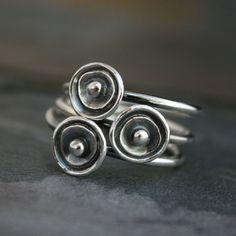 Zeeanemonen Stacking Rings Sterling Zilver zilver door KiraFerrer
