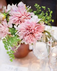 Wedding Ideas: full-pink-flower-centerepice