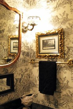 For the Home Eye For Design: Decorating Traditional, Old World Style Powder Rooms Tuck-pointing is t Powder Room Decor, Powder Room Design, Powder Rooms, Rustic Bathroom Designs, Rustic Bathrooms, Shower Designs, Chic Bathrooms, Home Design, Interior Design
