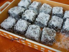 Once Upon a Bite: Chionati (Snow White) - Cake with chocolate and coconut topping Easy Sweets, Sweets Recipes, Candy Recipes, Greek Sweets, Greek Desserts, Cake Cookies, Cupcake Cakes, Coconut Deserts, Yogurt Cake