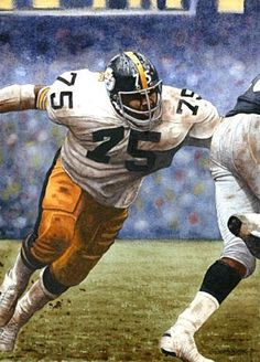 Pittsburgh Steelers Middle Linebacker Jack Lambert by Merv Corning . Steelers Meme, Pittsburgh Steelers Logo, Pittsburgh Sports, Steelers Football, Football Players, College Football, Football Helmets, Super Bowl, Steelers And Browns