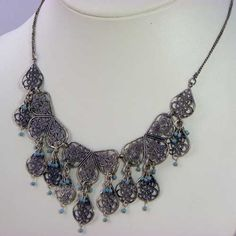 Eastern Promise necklace with silver filigree and turquoise from Monsoon s Accessorize This pretty antique silver filigree necklace was produced